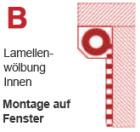 B | Montage auf das Fenster (Linksroller)