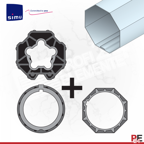Simu T5 für Achtkantwelle 70 mm | Adaptersatz