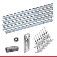 Maxi Stahlwellen für Kästen bis 4,75m mit Aufhängung | Komplettset 60er Welle Stahlwelle + Walzenkapsel + Aufschraublager + Kugellager + 3 Aufhängefedern