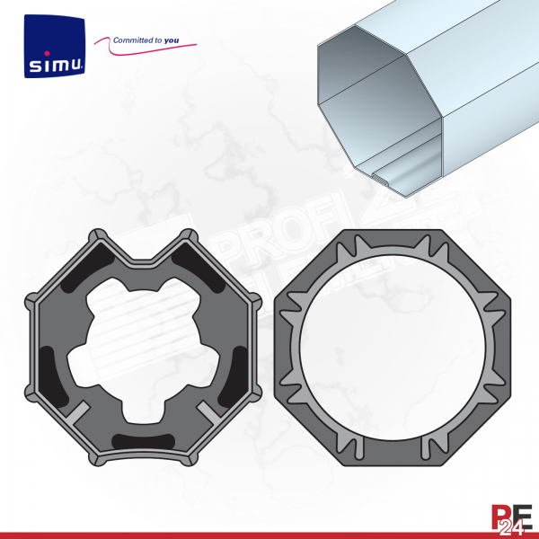 Simu T5 für Achtkantwelle 60 mm | Adaptersatz