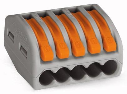 WAGO 222-415 Verbindungsklemme; 5-Leiter-Klemme; mit Betätigungshebeln; 2,5 mm²/4 mm²