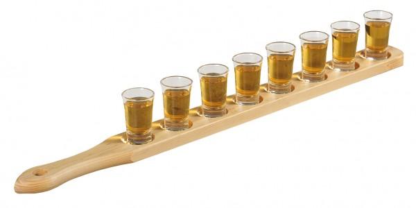 Kesper Schnapsglasträger mit 8 Gläsern | FSC, Kiefer